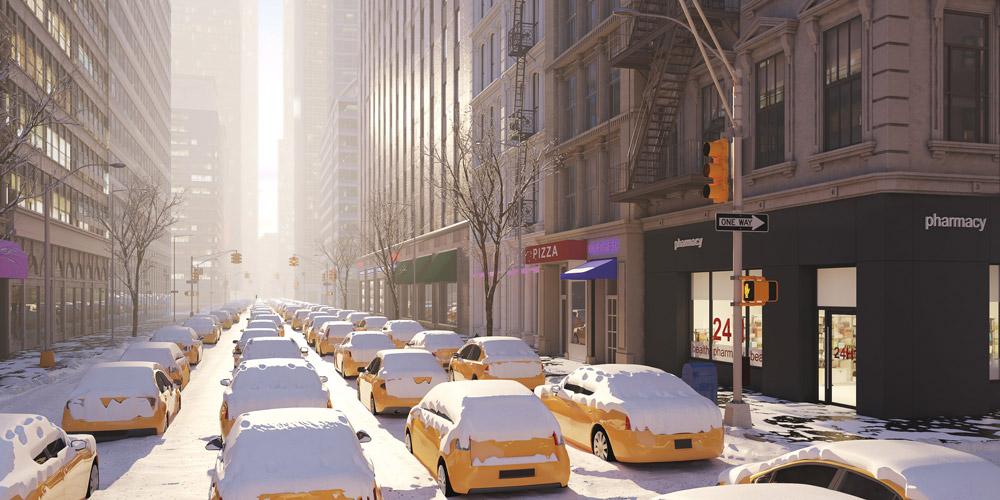 taxis immobilisés sous la neige
